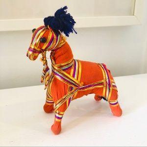 Small vintage handmade Indian cloth ribbon horse